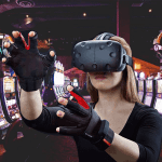 a woman with her vr headset on
