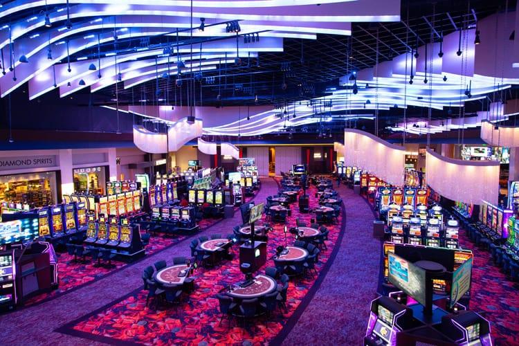 luxurious casino room with purple lightning