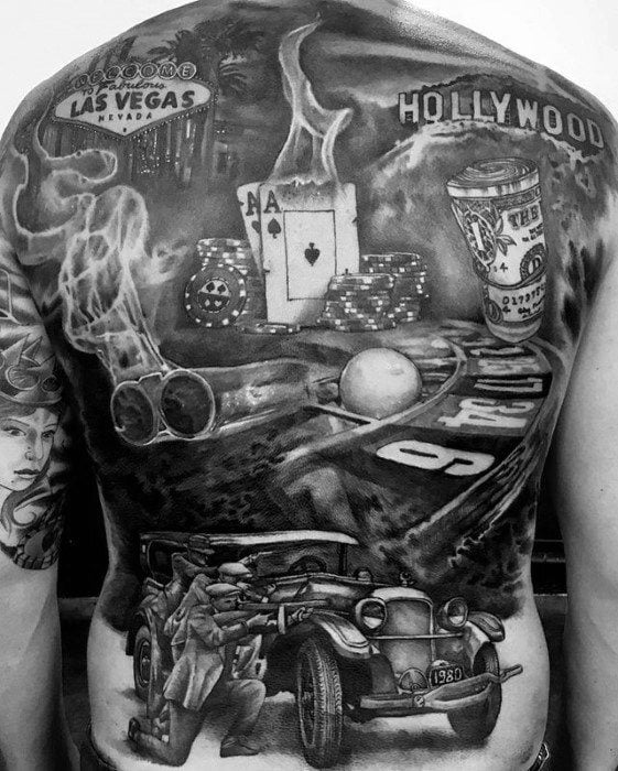 casino tattoo on someone's back