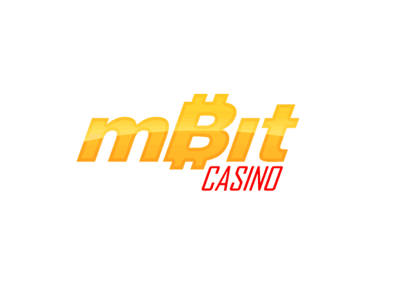 A white background with text saying:mBit casino in yellow and red letters.