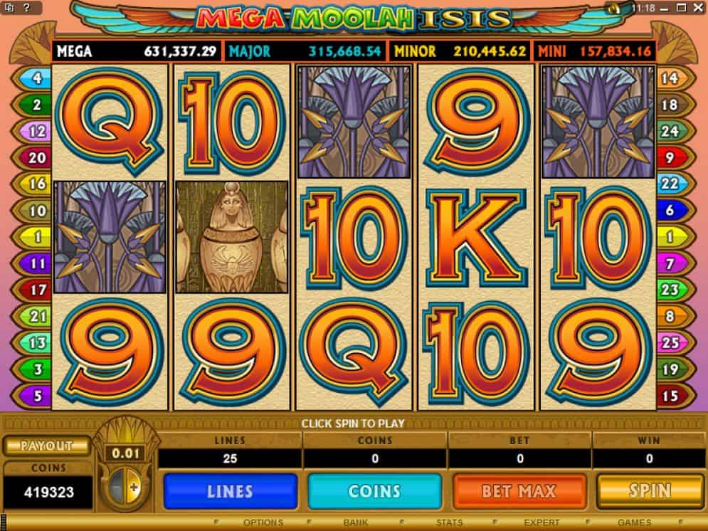 mega moolah isis slot game