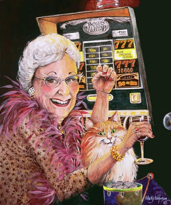 an elder lady and her cat smiling while playing a slot machine