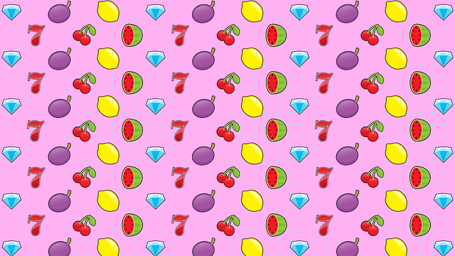 a pink background with casino symbols horizontally placed on it (blue diamonds, cherries, lemons, watermellons, plums, red 7)